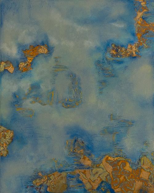 Light golden blue, 50 x 40 CM, linnen op canvas, Mixed Media Painting